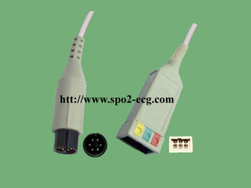 China GE-MEDICAL Pro1000/Datex-Ohmeda_IEC, 3 / 5lead, clip and snap,round 6pin,TPU,40in(102cm) / 2Pin supplier
