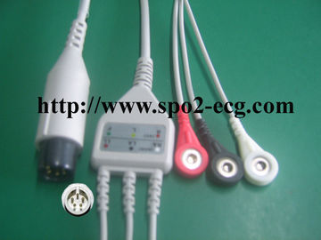China OEM ODM ECG Lead Cable 3 / 5lead AHA IEC LL Style ,1KΩ Resistance supplier