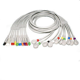 China Multi - Link Leadwires EKG Machine Cable 2P Plug IEC And AHA , TPU Material supplier