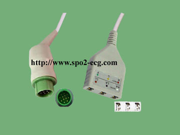 China Kontron Reusable ECG Lead Cable For Patient Monitor TPU Material factory