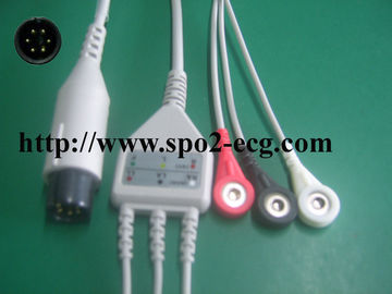 China Welch Allyn TPU ECG Lead Cable Round 6 Pin With 3 / 5 Lead Channel factory